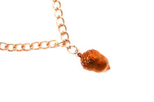 Real Acorn bracelet in iridescent copper with rose gold chain
