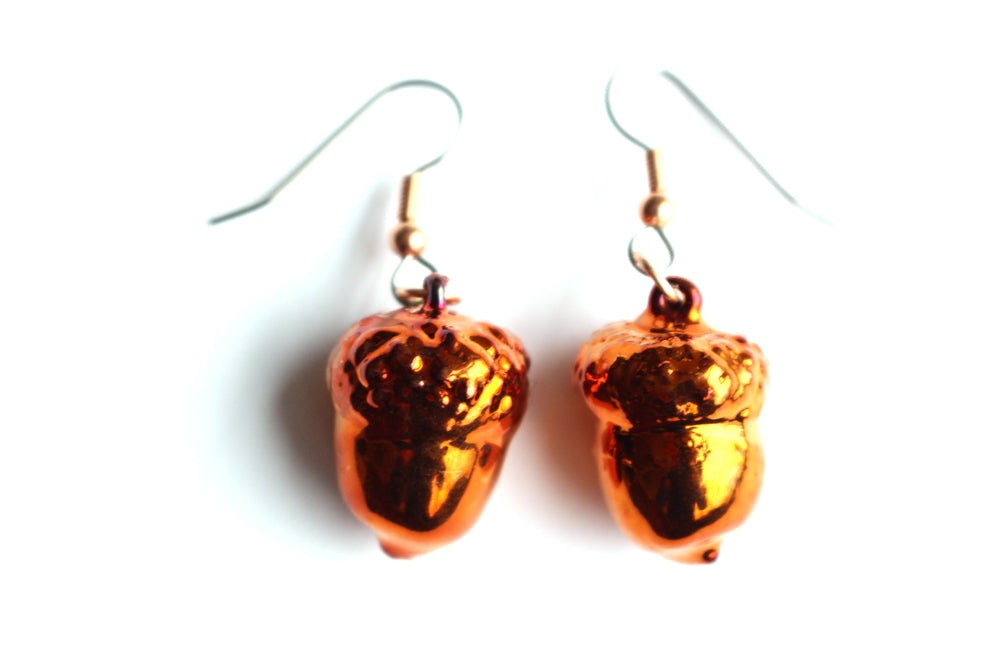 Real Acorn iridescent copper earrings - Arborvita Real leaf jewellery