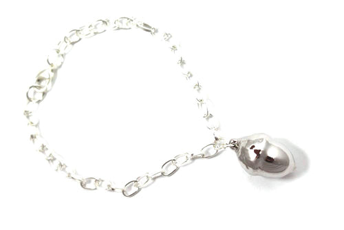 Real Acorn bracelet in silver with silver chain