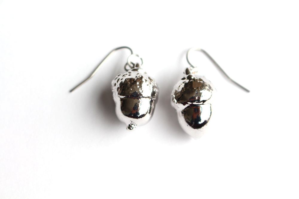 Real Acorn silver earrings - Arborvita Real leaf jewellery