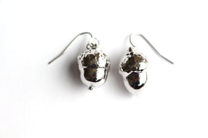 Real Acorn silver earrings