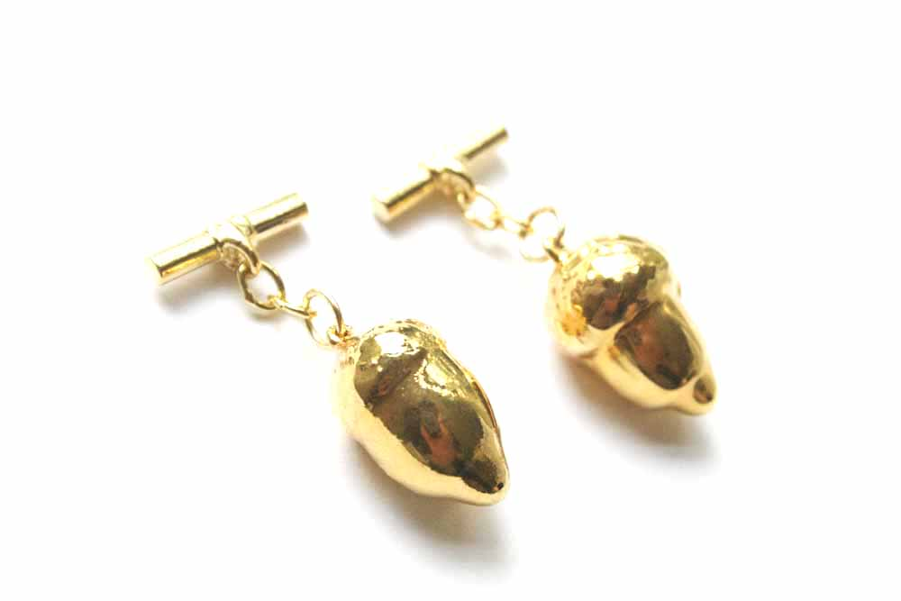 Real Acorns gold cufflinks - Arborvita Real leaf jewellery