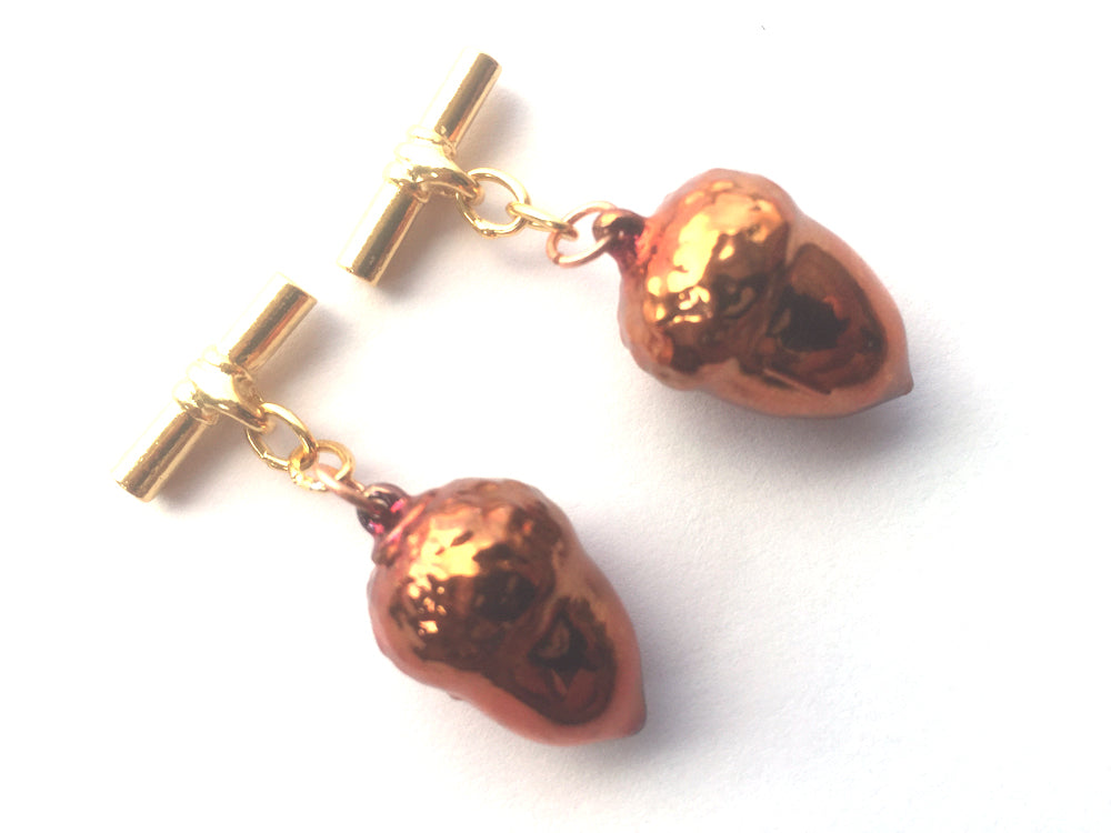Real Acorns iridescent copper cufflinks - Arborvita Real leaf jewellery