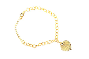 Real Aspen leaf bracelet in gold with gold chain