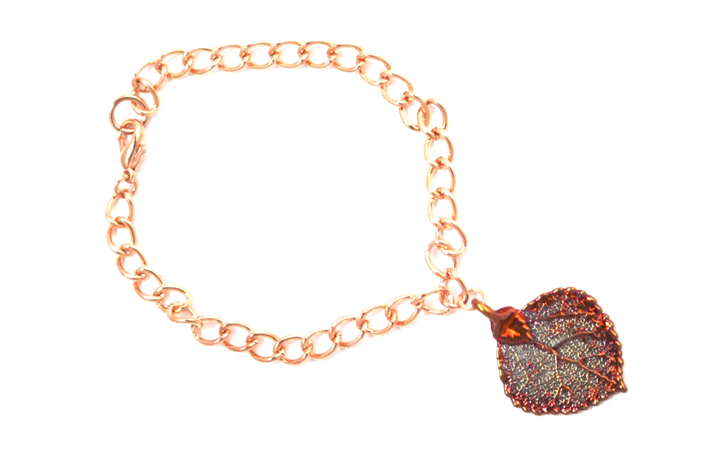 Real Aspen leaf iridescent copper bracelet - Arborvita Real leaf jewellery
