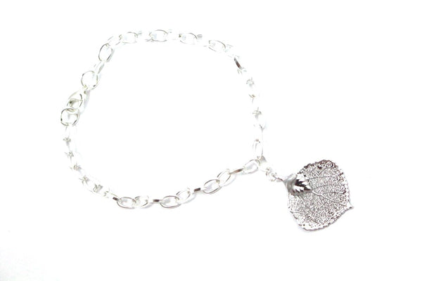 Real Aspen leaf bracelet in silver with silver chain