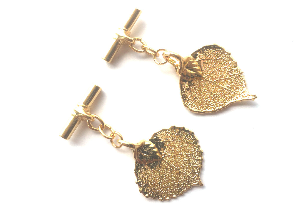 Real Aspen leaf gold cufflinks - Arborvita Real leaf jewellery