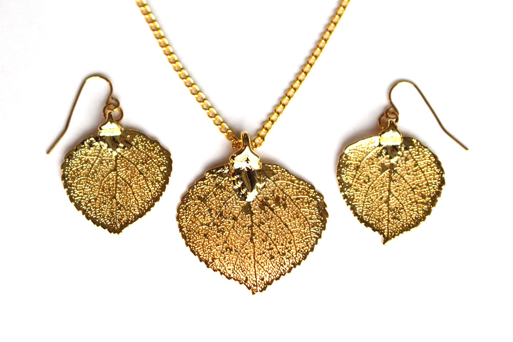 Real Aspen leaf gold necklace and earrings set - Arborvita Real leaf jewellery