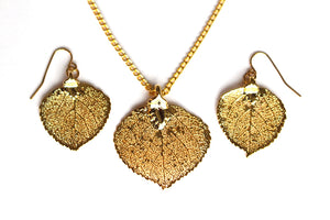 Real Aspen leaf gold necklace and earrings jewellery set