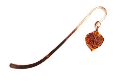 Real Aspen leaf iridescent copper bookmark