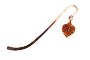 Real Aspen leaf iridescent copper bookmark - Arborvita Real leaf jewellery