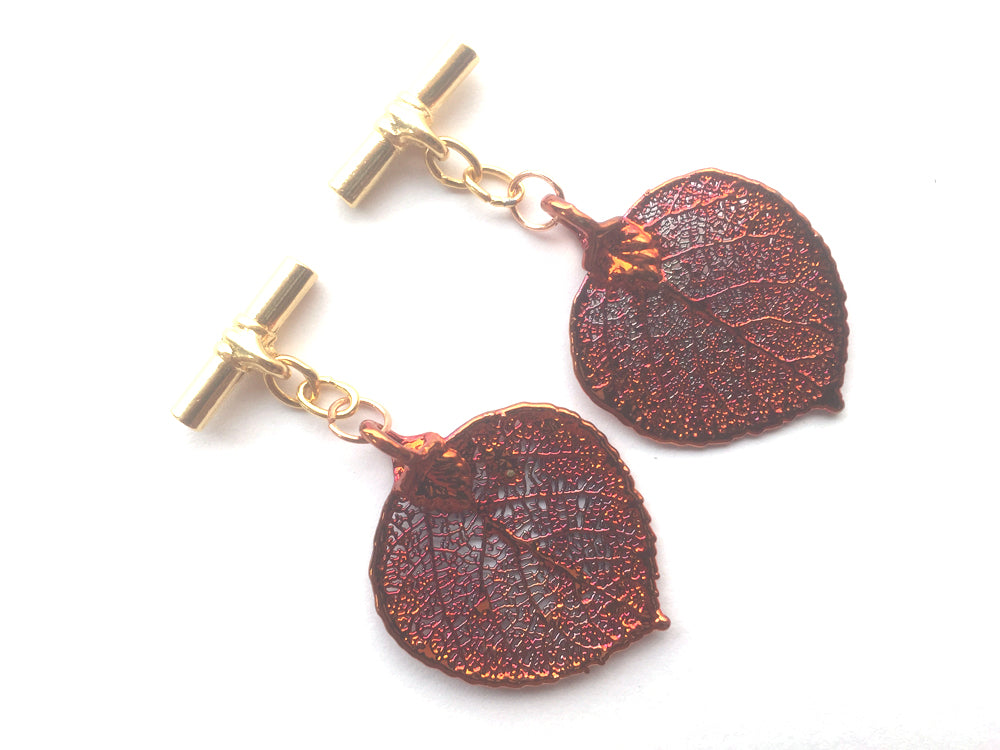 Real Aspen leaf iridescent copper cufflinks - Arborvita Real leaf jewellery