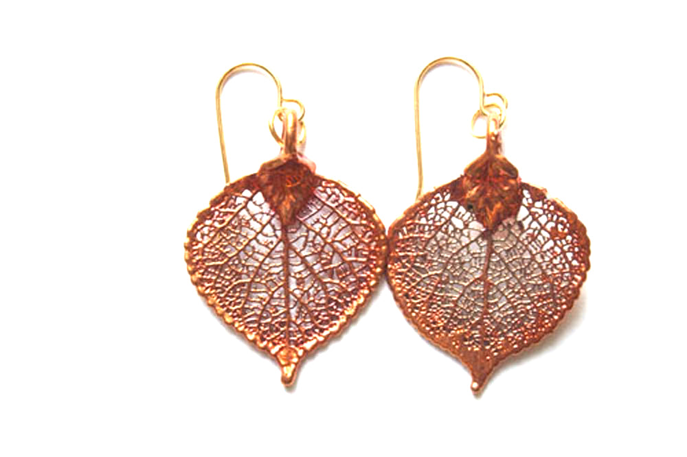 Real Aspen leaf iridescent copper earrings - Arborvita Real leaf jewellery