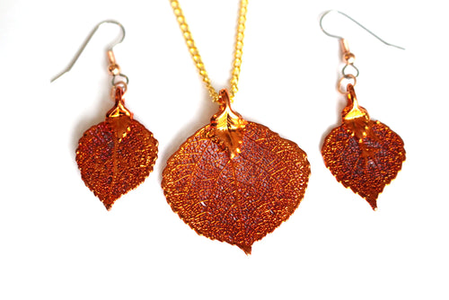 Real Aspen leaf iridescent copper jewellery set