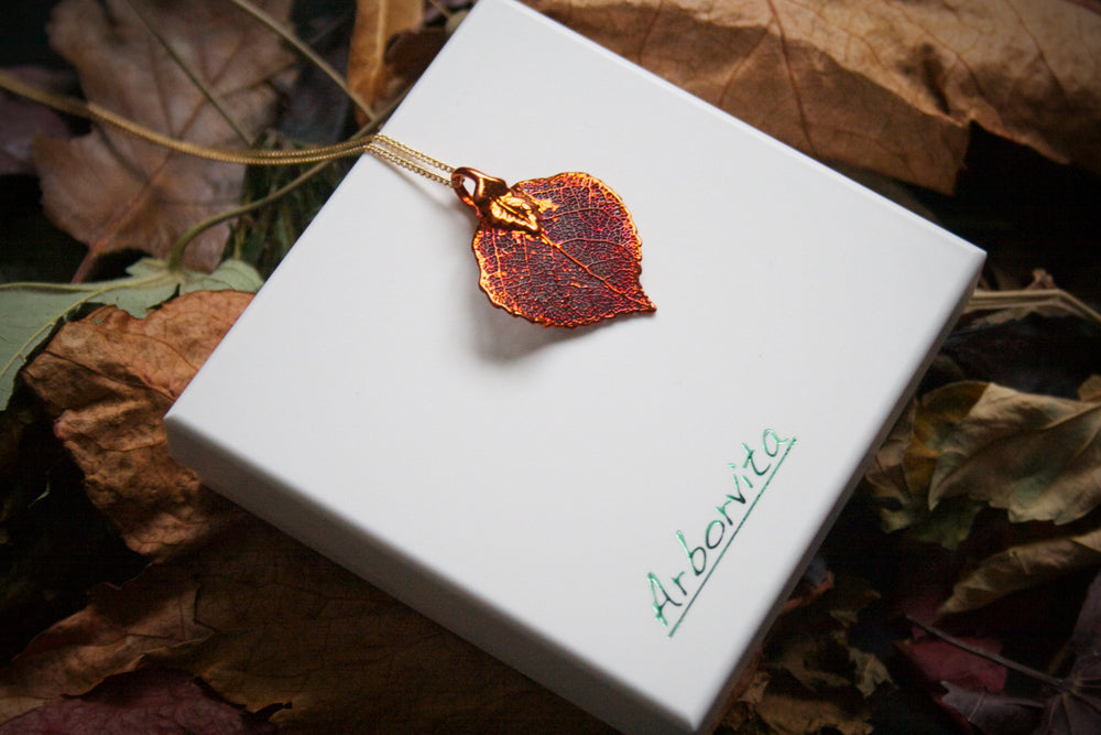 Real Aspen leaf iridescent copper pendant necklace - Arborvita Real leaf jewellery