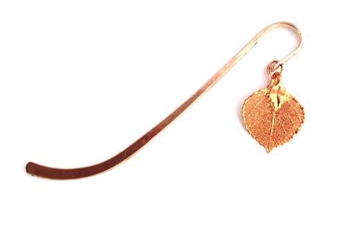 Real aspen leaf rose gold bookmark.