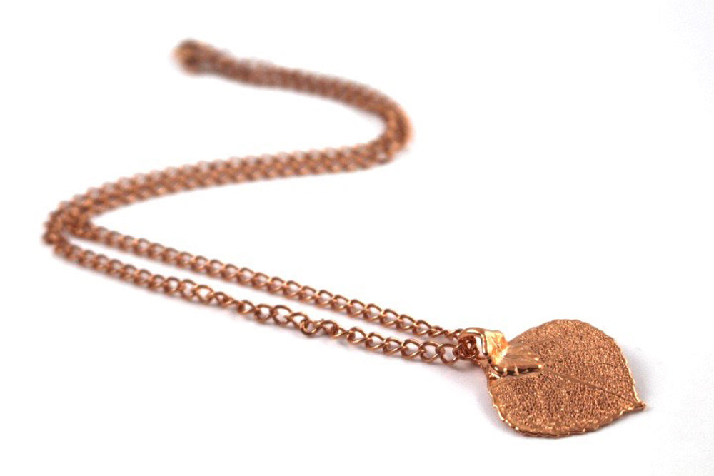 Real Aspen leaf rose gold pendant necklace - Arborvita Real leaf jewellery