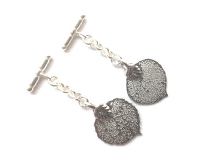 Real Aspen leaf silver cufflinks - Arborvita Real leaf jewellery