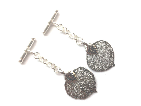 Real Aspen leaves silver cufflinks