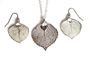 Real Aspen leaf silver necklace and earrings set - Arborvita Real leaf jewellery