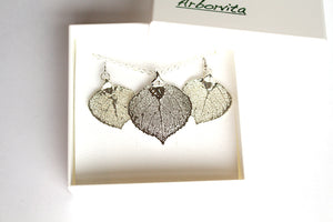Real Aspen leaf silver necklace and earrings set