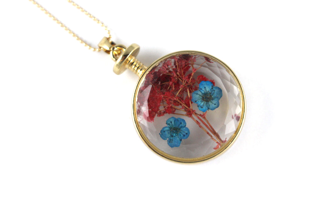 Real Baby's breath blue and red necklace gold - Arborvita Real leaf jewellery