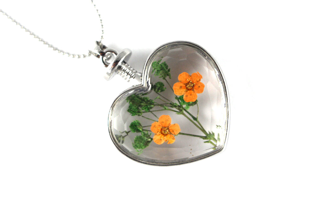 Real Baby's breath orange and green necklace silver - Arborvita Real leaf jewellery