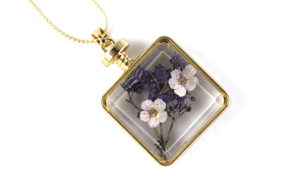 Real Baby's breath pink and purple resin necklace gold - Arborvita Real leaf jewellery