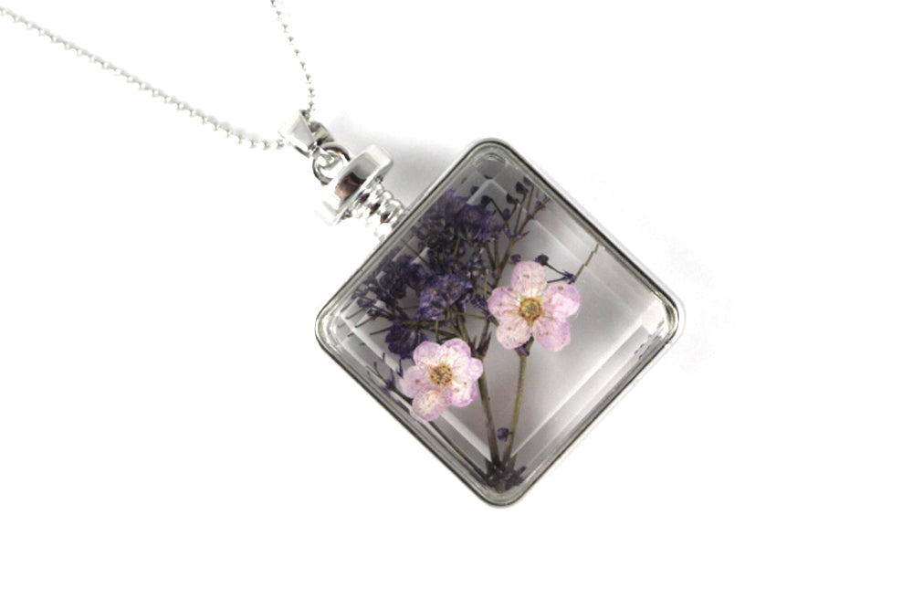 Real Baby's breath pink and purple resin necklace silver - Arborvita Real leaf jewellery