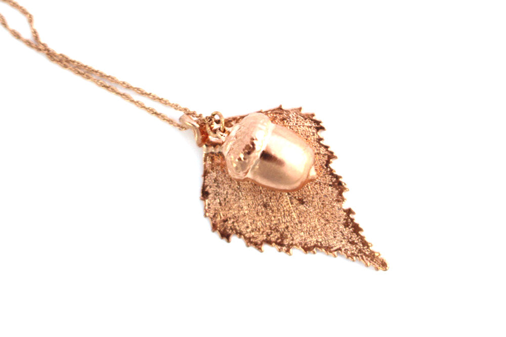 Real Birch Leaf And Acorn Necklace In Rose Gold - Arborvita