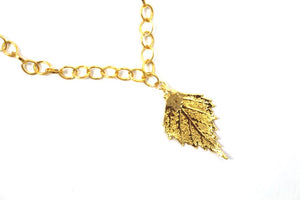 Real Birch leaf bracelet gold with gold chain