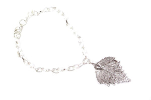 Real Birch leaf bracelet silver with silver chain