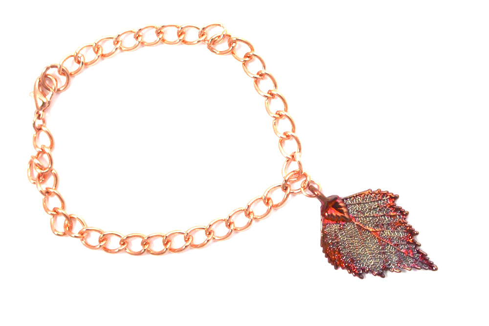 Real Birch leaf iridescent copper bracelet - Arborvita Real leaf jewellery