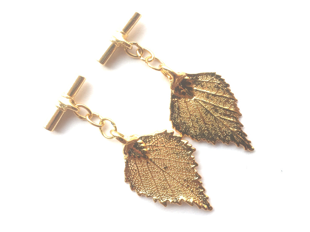 Real Birch leaf gold cufflinks - Arborvita Real leaf jewellery