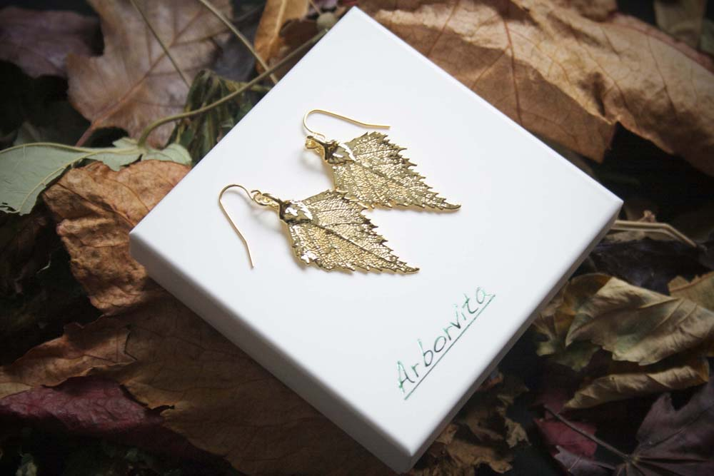 Real Birch Leaf Gold Earrings - Arborvita Real leaf jewellery