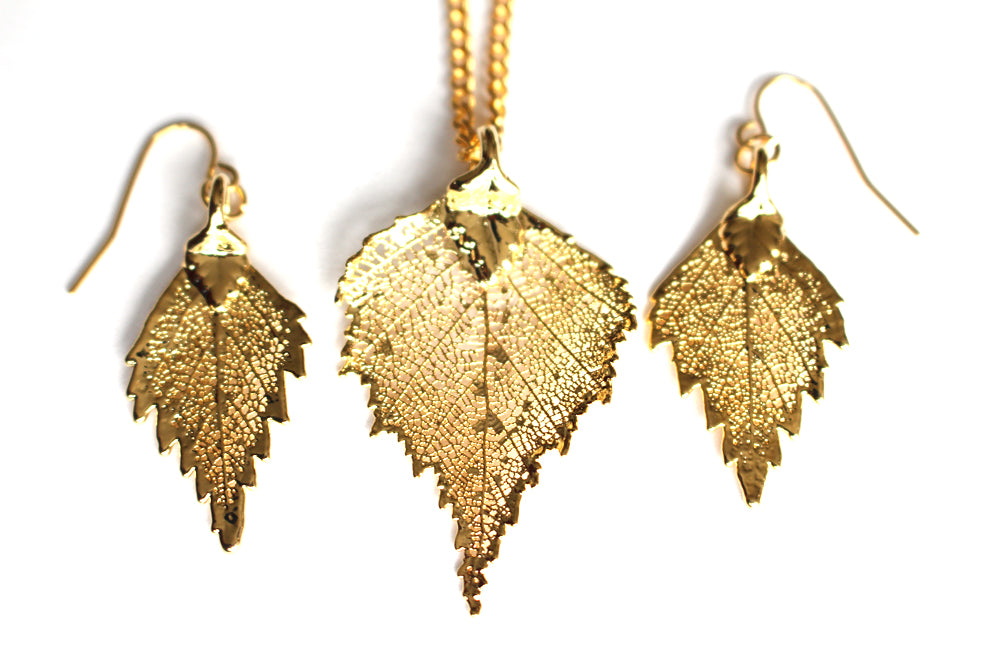Real Birch leaf gold necklace and earrings set - Arborvita Real leaf jewellery