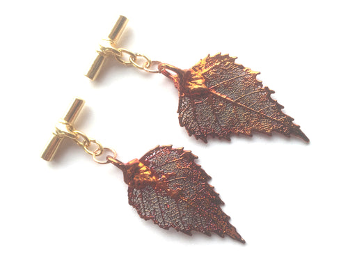 Real Birch leaf iridescent copper cufflinks - Arborvita Real leaf jewellery