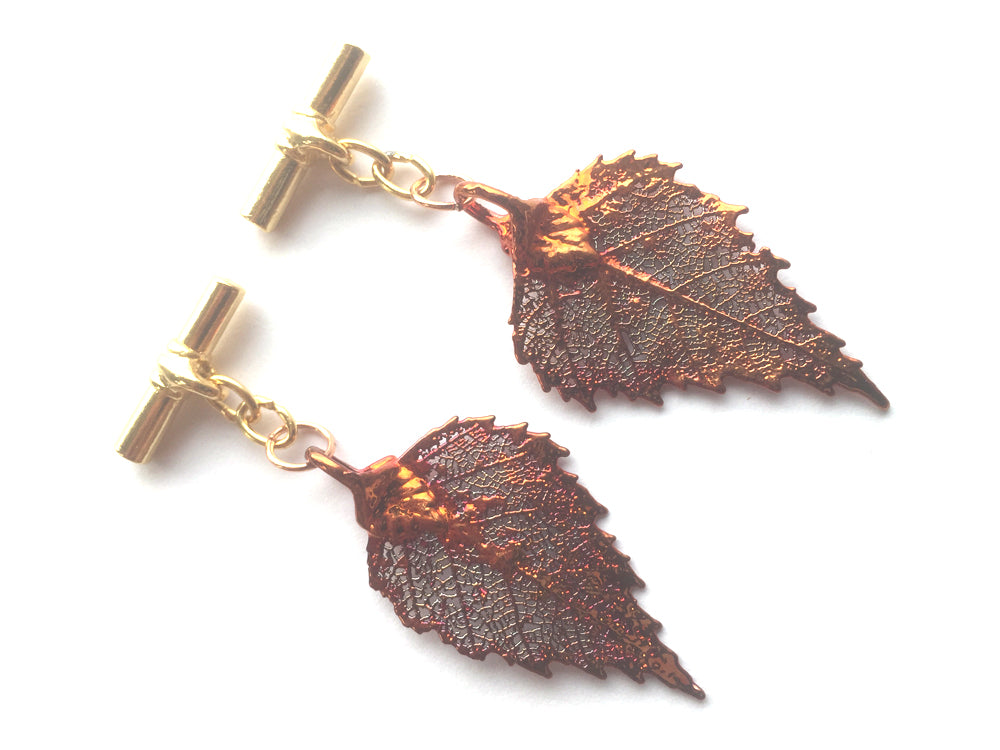 Real Birch leaf iridescent copper cufflinks
