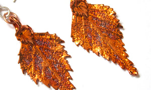 Real Birch Leaf Iridescent Copper Earrings
