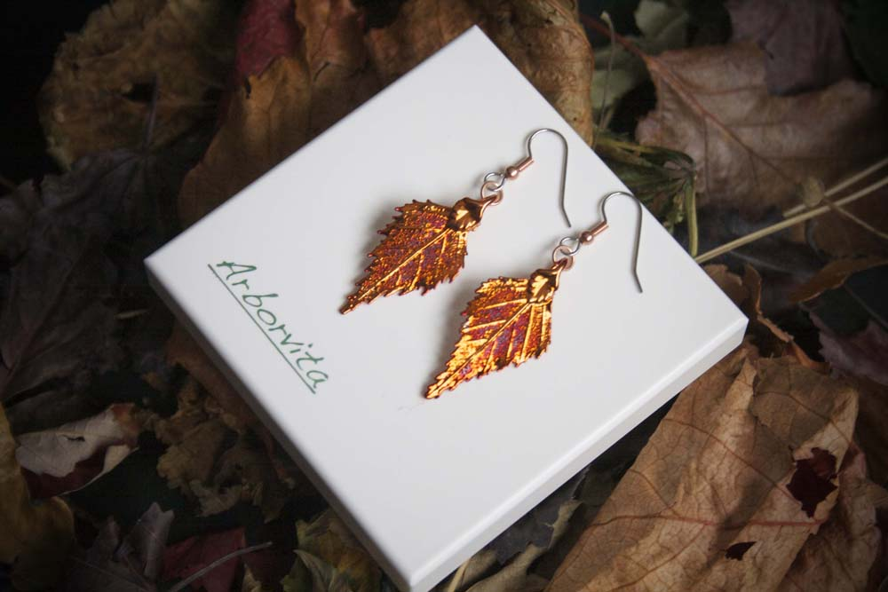 Real Birch Leaf Iridescent Copper Earrings - Arborvita Real leaf jewellery