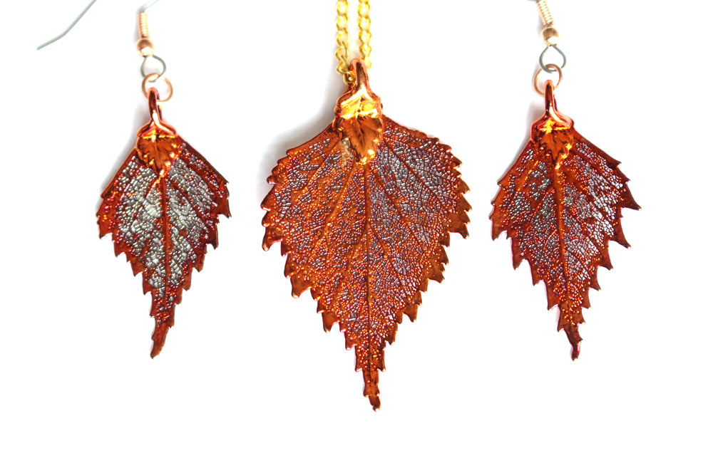 Real Birch leaf iridescent copper necklace and earrings set - Arborvita Real leaf jewellery