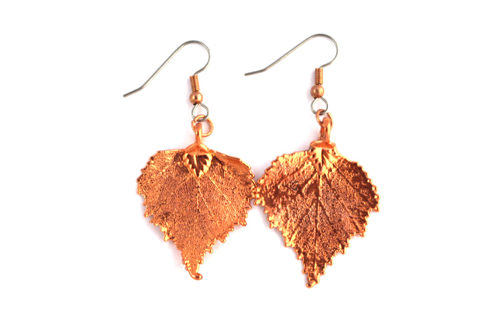 Real Birch Leaf rose gold earrings
