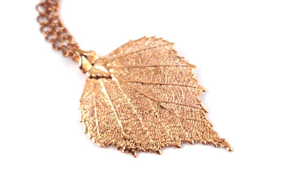 Real Birch leaf rose gold pendant necklace - Arborvita Real leaf jewellery