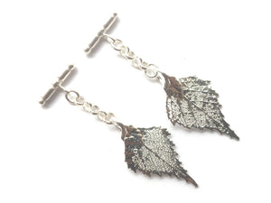 Real Birch leaf silver cufflinks - Arborvita Real leaf jewellery