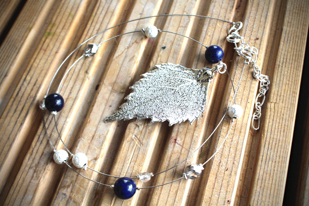 Real Birch leaf silver necklace with Lapis Lazuli beads. - Arborvita Real leaf jewellery