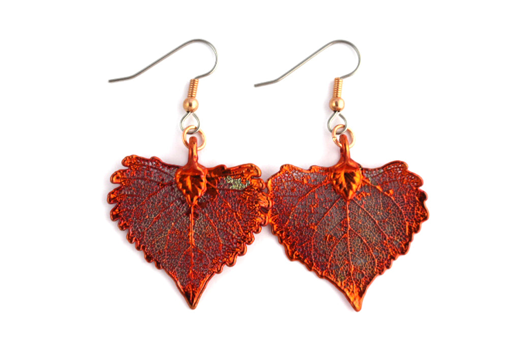 Real Cottonwood leaf iridescent copper earrings - Arborvita Real leaf jewellery