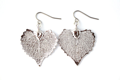Real Cottonwood leaf silver earrings - Arborvita Real leaf jewellery