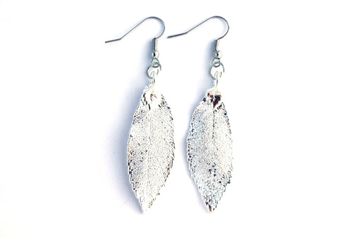 Real Elm leaf silver earrings - Arborvita Real leaf jewellery