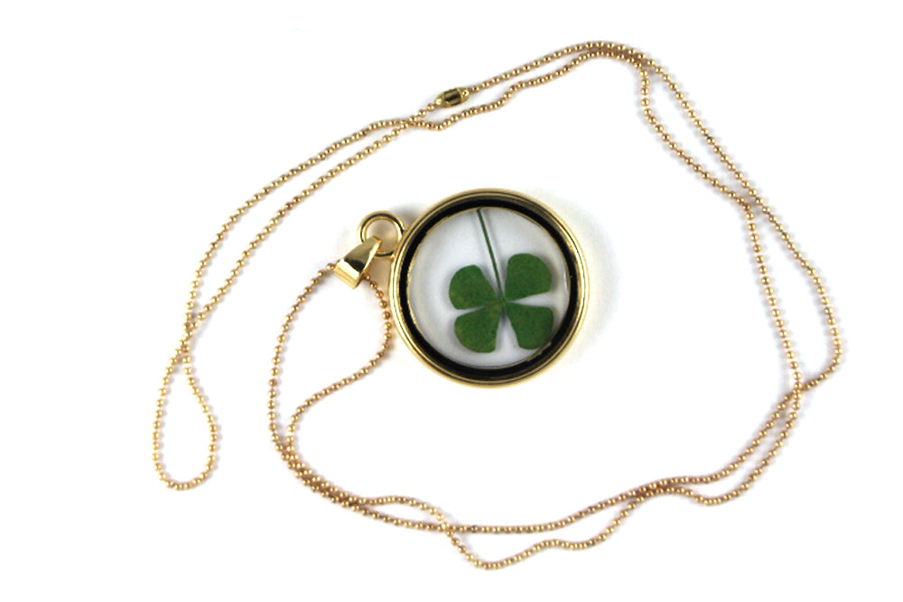 Real Four leaf clover resin necklace in gold - Arborvita Real leaf jewellery