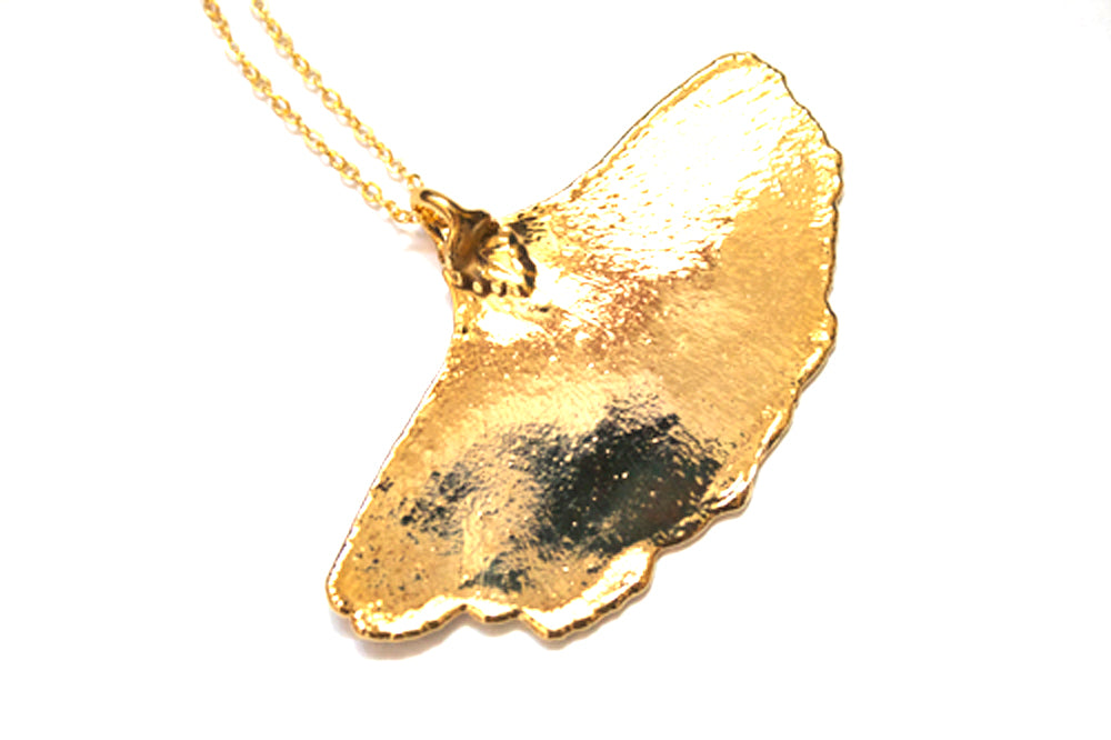 Real Ginkgo leaf gold pendant necklace - Arborvita Real leaf jewellery